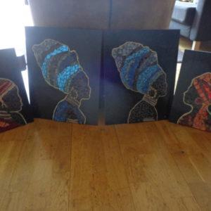 Mozaiek schilderijen en wand decoratie.